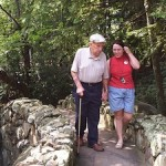 Senior walking with granddaughter